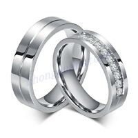 6MM CZ Couple Ring Titanium Steel Lover Her and His Wedding Promise Band Sz 5-12