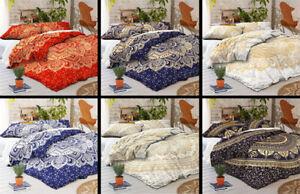 Queen Size Lotus Quilt Duvet Cover Boho Mandala Hippie Gypsy Indian Bedding Set