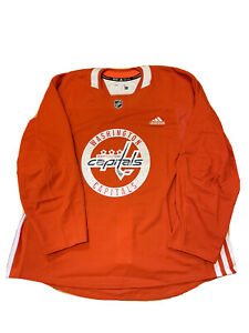 Adidas Men's Washington Capitals Authentic Practice Jersey Orange Size 58 2XL