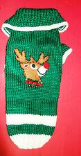 Dog Cat Sweater Liz Claiborne Christmas Rudolph Hand Knit Small Medium Unused