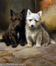c1910~ L.Cheviot~1 Black & 1 White Scottish Terrier Dog Dogs~ New Lge Note Cards