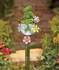 Frog Flower Solar Path Light Stake Statue Lawn Yard Outdoor Garden Home Decor