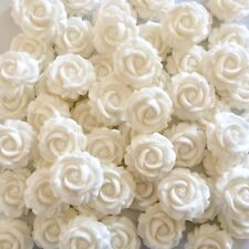 12 WHITE ROSES Edible Sugar Paste Flowers Cup Cake Decorations Toppers Wedding