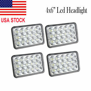 "Set 4 4X6"" LED Headlights Hi/Lo Light Bulbs Crystal Clear Sealed Beam Headlamp"