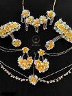 Asian Bridal Artificial Flower Jewelry in Yellow Indian Mehndi Haldi Set