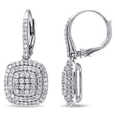 Sterling Silver 1 Ct TDW Diamond Drop Dangle Leverback Earrings