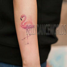 1 SET OF 2 PINK WATERCOLOR FLAMINGO BIRD TEMPORARY TATTOO BODY MAKEUP STICKER