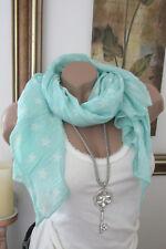 écharpe en soie foulard tissu turquoise étoiles Coton noble luxe Italie