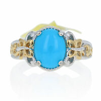 NEW Oval Cabochon Cut Turquoise Ring - Sterling Gold Plated Women's Solitaire