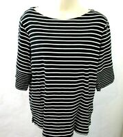 Jones New York Signature Woman Striped Top 2X Black White 3/4 Sleeve Boat Neck
