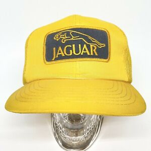 Vintage Jaguar Auto Car Le Man Racing Yellow Mesh Snapback Trucker Style Hat Cap