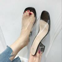 Womens Open Toe Clear Block Heel Vogue Mules Sandals Slides Slip on Chunky Shoes