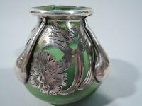 Alvin Vase - 3418 - Art Nouveau   American Iridescent Green Glass Silver Overlay