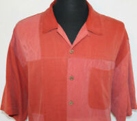 Tommy Bahama Mens XL Maroon Red Hawaiian Quilted Palm Tree Patches Relax Shirt