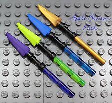 NEW Lego 4 Ninjago Ninja SPEARS Purple Green Blue Gold Minifig Weapon/LightSaber