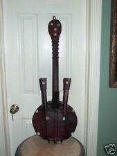 Primitive African Wood Guitar w Shells Hide Instrument