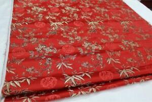 Faux Silk Brocade (Plum Peony Bamboo) Jacquard Damask Kimono Fabric Material*BA2
