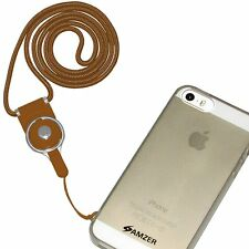 Amzer Round Detachable ID Card Key Chain Cell Phone Neck Lanyard Straps - Brown