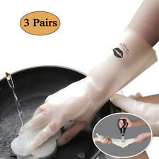 Rubber Cleaning Gloves 3 Pairs Reuseable Household Gloves Waterproof for Kitchen