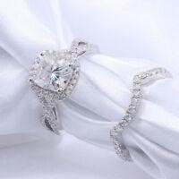 1.50CT Cushion Cut Diamond Bridal Engagement Ring Set 14k White Gold Finish