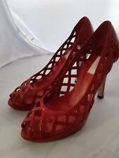 JLO by Jennifer Lopez red patent courts lace shoes heels size US 7 M .
