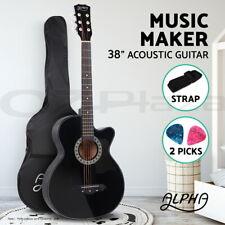 """Alpha 38"""" Inch Acoustic Guitar Wooden Folk Classical Cutaway Steel String Black"""