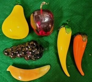 VINTAGE MURANO GLASS FRUIT LOT OF 6 - PEAR, GRAPES, RED APPLE, PEPPERS, BANANA