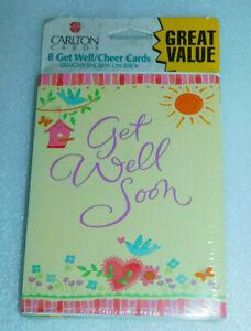Get Well Soon Cheer Cards Carlton Yellow Birds Birdhouse Heart Flowers Sun 8 Ct