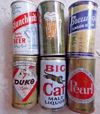 6 Vintage Beer Cans Flat Tops