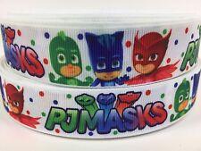 "BY The Yard 1"" Disney PJ Masks Cartoon Printed Grosgrain Ribbon Hair Bows Lisa"