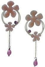 NEW PILGRIM SILVER PLATED EARRINGS ENAMEL PINK FLOWERS & PEARLS HANDMADE JEWELRY