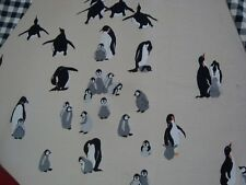 "OOAK PENGUIN CHRISTMAS TREE SKIRT Chilly Willy Black Check 60"" Lined"
