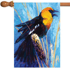 New Toland - Cattail Call - Colorful Black Orange Bird House Flag