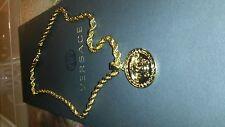 "Gold, 24kt,Gold Filled, Medusa Head Pendant (1.9"") & 24"" Chain (4mm),+Gift box"