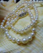 """Vtg 14K White Gold Graduated CULTURED PEARL NECKLACE 17"""" Strand Pearls Fish Hook"""