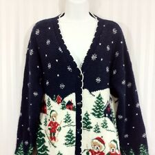 NUTCRACKER Sz Medium Navy Blue Ugly Christmas Sweater with Teddy Bears Cardigan