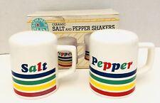 "Vtg 1980s Retro Ceramic Rainbow Summer Fun 3.5"" Salt & Pepper Shakers"