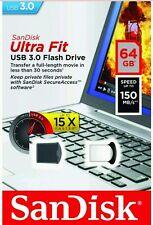 64GB SanDisk Ultra Fit USB 3.0 High Speed 150MB/s Flash Drive  Memory Stick