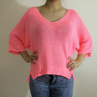Zara Fluoro Neon Orange Knitted 3/4 Sleeve Jumper Top Bloggers Fave Size M 10-12