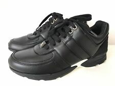 CHANEL 2016 LOGO BLACK LEATHER MESH SNEAKERS TENNIS SHOES TRAINERS SHOE 36.5