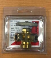 "Dual Angle Stop 1/2"" FIP x 3/8"" COMP Solid Brass, 3 Way Water Supply Valve"