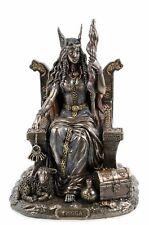 Germanische Göttin Frigga Frau Odins auf Thron Frigg Odin bronziert Figur  Freya
