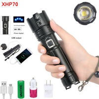 XHP70 LED Taschenlampe USB Wiederaufladbar Zoomable Superhell Flashlight Camping