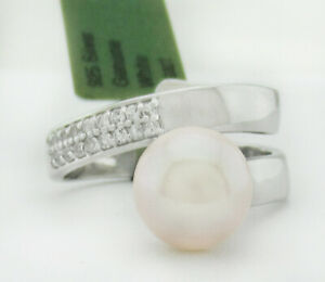 GENUINE 9 mm WHITE PEARL RING .925 STERLING SILVER NWT Size 7.5 (Adjustable)