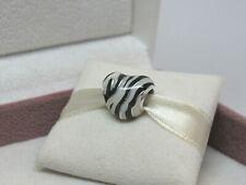 New w/Box Pandora Zebra Stripes Heart Charm 798056ENMX W/Tags Black & White