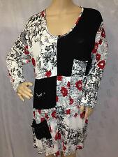 Damen Oberteil Shirt Longshirt Tunika 3/4 Arm schwarz geblümt Gr. 50/52