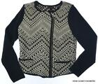 Lucky Brand Women's LARGE Knit Sweater Jacket Tribal Pattern Black/Off-White