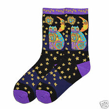 Laurel Burch K.Bell Purple Black Celestial Feline Cats Ladies Pair Socks New
