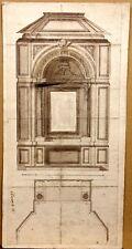 Superbe Dessin Ancien début XIXe Projet Architecture Plan par FERRANTI