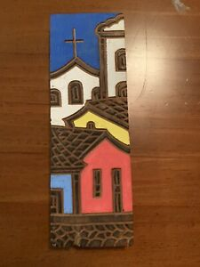 """Hand Carved Painted Wood WALL PLAQUE Church Signed """"Valmir 93"""" Folk Art Brazil"""